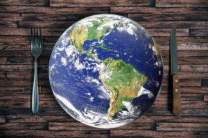 Welt mit Besteck